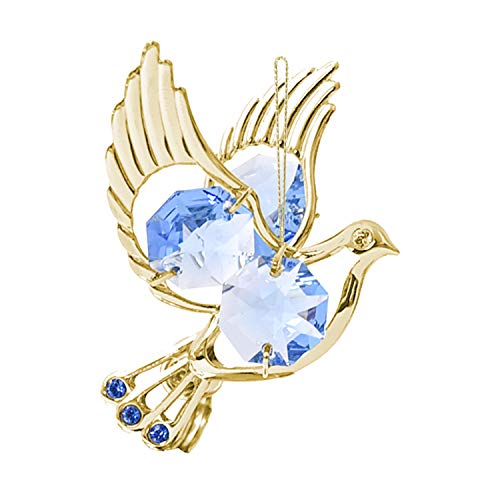 Mascot Crystal Delight Collection 24K Gold Plated Hanging Sun Catcher or Ornament Dove with Blue Swarovski Crystals