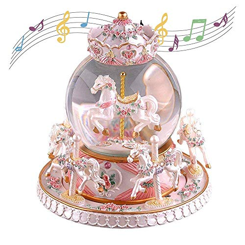 Tieesa Rotate Music Box Carousel Crystal Ball Luxury 6-Horse Crystal Ball Snow Globe with Castle in The Sky Tune Perfect Birthday Christmas for Kids, Girls, Women