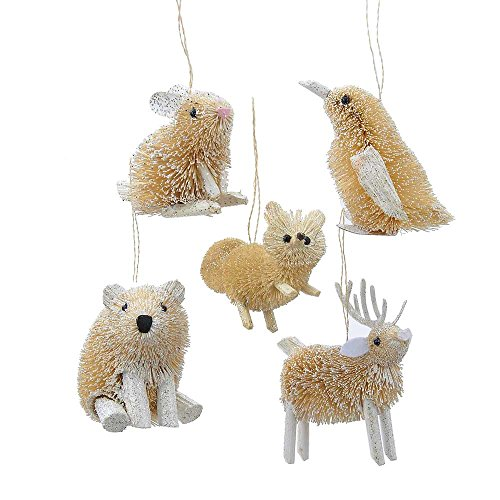 Kurt Adler 3.5-Inch Buri Winter Set of 5 Animal Ornaments, 5 Piece