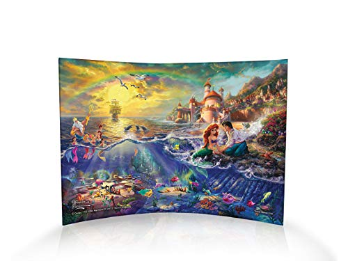 Disney – The Little Mermaid – Ariel – Thomas Kinkade – Curved Acrylic Photo Print – Free Standing Light Catching Photo Décor – For Gifting and Collecting – By Trend Setters Ltd.