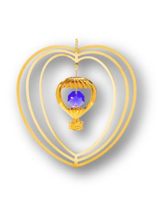 Gold Plated Hot Air Balloon Ornament with Purple Swarovski Element Crystals