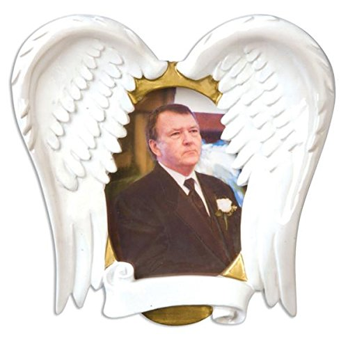 Personalized in Loving Memory Picture Frame Christmas Ornament for Tree (Angel Wings Frame)