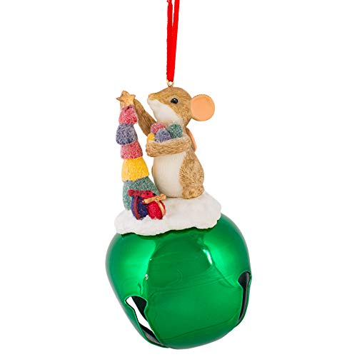 Mouse Candy Jingle Bell Green 5 x 3 Resin Holiday Hanging Figurine Ornament
