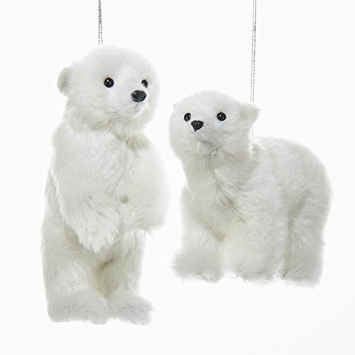 Kurt Adler FURRY POLAR BEAR ORNAMENT – 2 ASSORTED