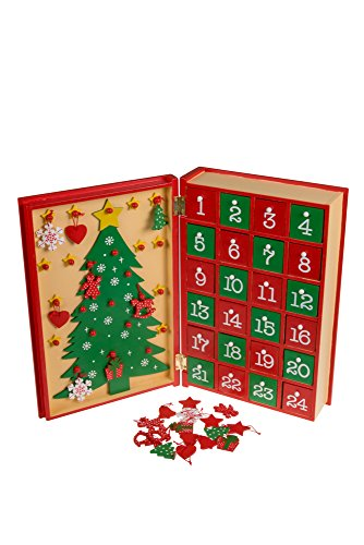 Clever Creations Christmas Book 24 Day Advent Calendar | Wooden Christmas Tree Decor | Red and Gold Painted Wood | Measures 7.75″ x 11.75″