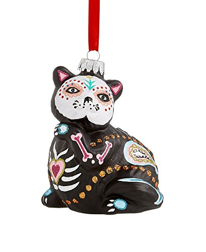 Holiday Lane Glass Day of the Dead Black Cat Ornament