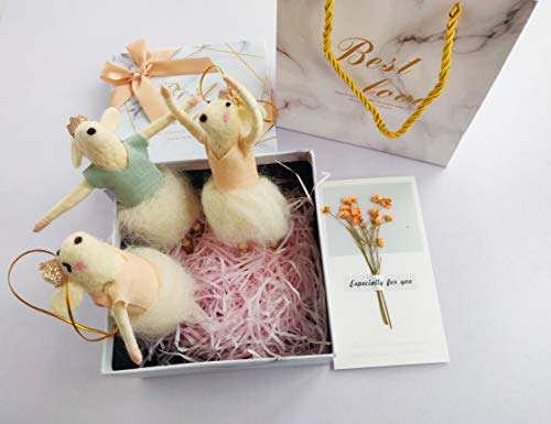 B & D Combined Inc. B & D Felted Wool Dancing mice, Birthday Gift Set, Christmas Decorations – Set of 3 Cute Mouse Ornaments