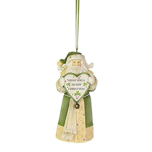 Enesco Heart of Christmas Santa Irish You a Merry Hanging Ornament, 4.33 Inch, Multicolor