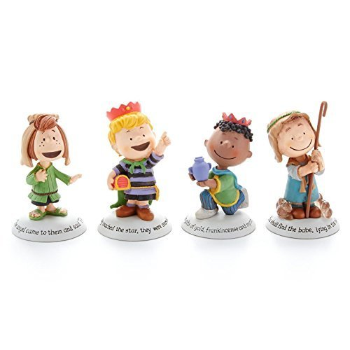 Hallmark 2014 Glad Tidings Peanuts Nativity Additional Characters Set – Set of 4 Figurines – (Nativity Accessories) – #XKT1446