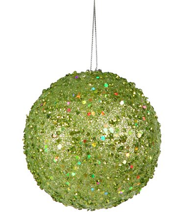 Vickerman Fancy Green Apple Holographic Glitter Drenched Christmas Ball Ornament, 4″