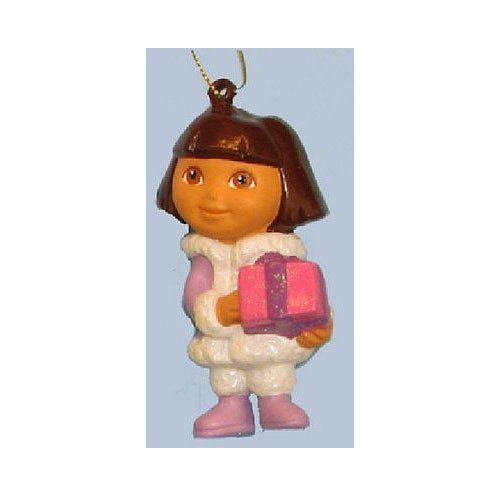 Dora the Explorer Holding Gift Personalized Christmas Tree Ornament