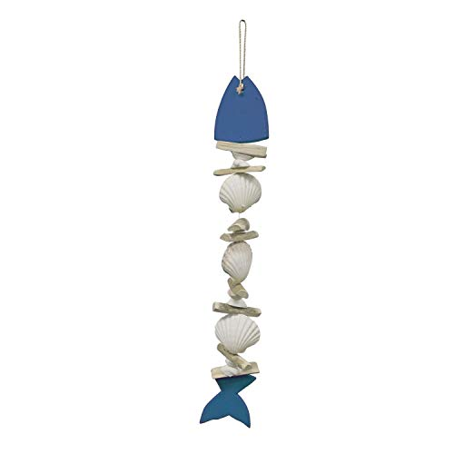 Beachcombers Wood and Shell Blue Fish Wall Hanging Ornament