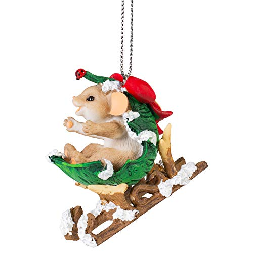Mouse Leaf Sled Natural 2 x 2 Resin Holiday Hanging Figurine Ornament