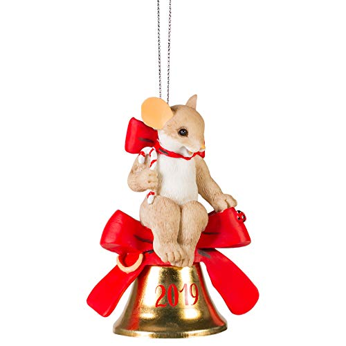 2019 Mouse Bell Bow Red 4 x 3 Resin Holiday Hanging Figurine Ornament