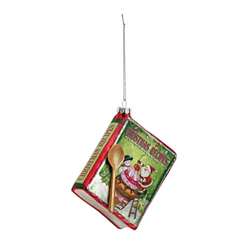 DEMDACO Christmas Recipes Cookbook 3 x 4 Inch Glass Hanging Christmas Ornament