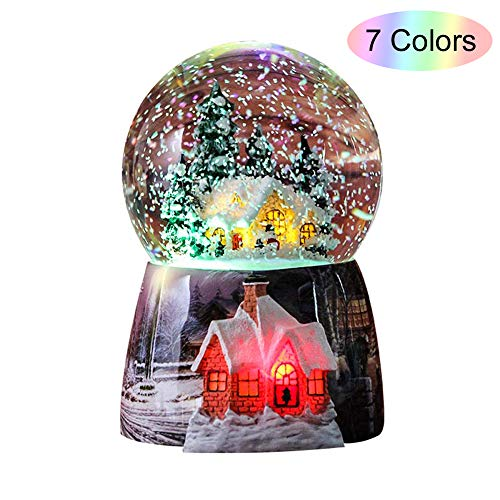 Snow Globes for Kids Boys – Girls Snow Globe Christmas Village Santa Snow Globe Winter Glitter Art Crystal Ball Rotate 7 Colors Change Light Musical Box Castle in The Sky Birthday Xmas Gifts