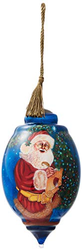 Ne'Qwa Art Hand Painted Blown Glass Ornament, Dated 2018 Santa Claus