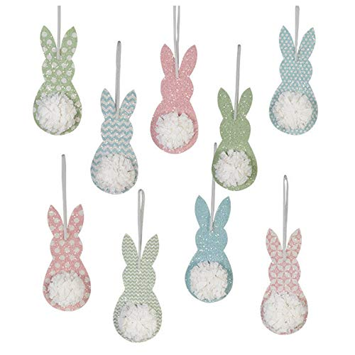 Bethany Lowe Set/9 7″ Spring Happy Tails Bunny Retro Vintage Style Easter Decor Ornaments