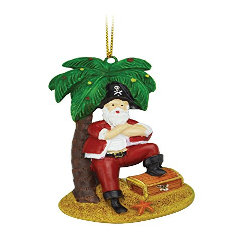 Rockin Gear Christmas Ornament Santa Claus Figurine – Ceramic Tropical Ornaments Funny Santa Clause Christmas Tree Decorations (Santa Palm)