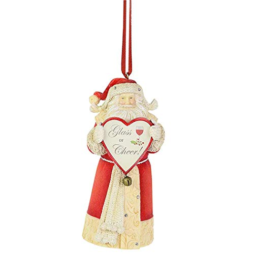 Enesco Heart of Christmas Santa Glass of Cheer Hanging Ornament, 4.33 Inch, Multicolor
