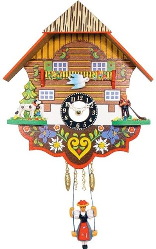 Alexander Taron 0193SQ Engstler Battery-Operated Clock – Mini Size with Music/Chimes – 7.5″ H x 6.75″ W x 3.5″ D, Brown