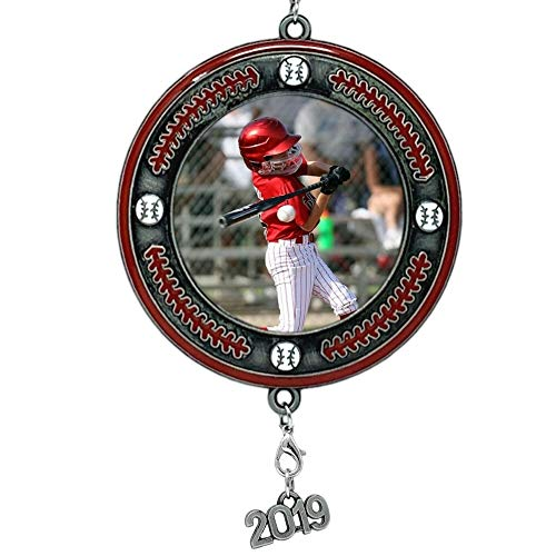 BANBERRY DESIGNS Baseball Picture Frame- Christmas Ornament Dated 2019 Keepsake – Sports Team Photo Holder Ornament