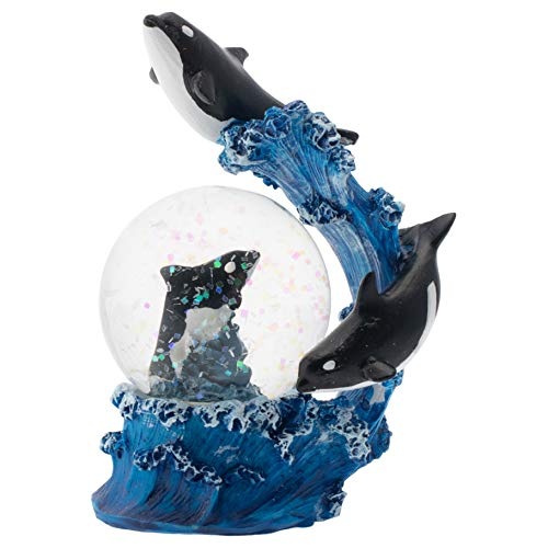 Elanze Designs Tidal Wave Orca Pod Figurine 45MM Glitter Water Globe Decoration