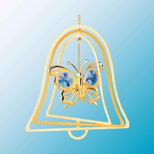 24K Gold Plated Hanging Sun Catcher or Ornament….. Butterfly with Blue Swarovski Austrian Crystals in a Bell