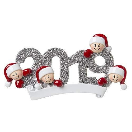 Personalized 2019 Family of 4 Christmas Tree Ornament – Mother Father Child Friend Santa Hat Glitter Grey Year Letters Dated Fun Holiday Tradition Foster Gift Forever – Free Customization (SIX)