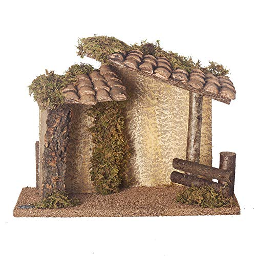 Fontanini, Musical Italian Stable, 9.75″ H, Wood/Moss/bark, Golden Edition, 5″ Scale, Collection, Handmade in Italy, Designed and Manufactured in Tuscany, Polymer, Hand Painted, Italian, Detailed