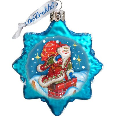 G. Debrekht Through The Roof Santa Glass Ornament