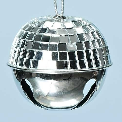Roman 2.5″ Winter Ice Silver Disco Ball Jingle Bell Christmas Ornament