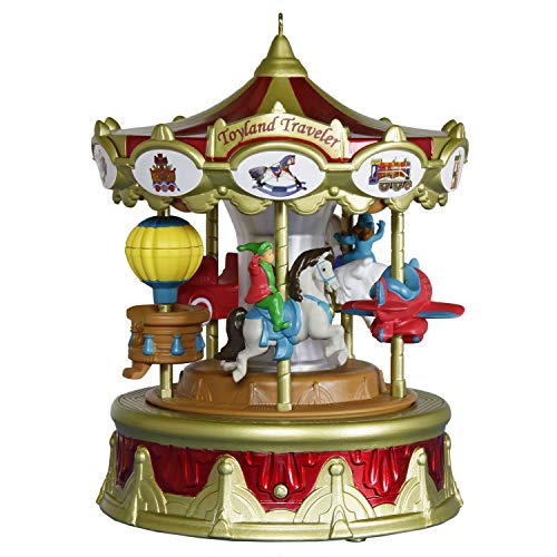 Hallmark Keepsake 2019 Year Dated Christmas Carnival Traveler Merry-Go-Round Musical Ornament with Light and Motion (Plays Toyland Song)