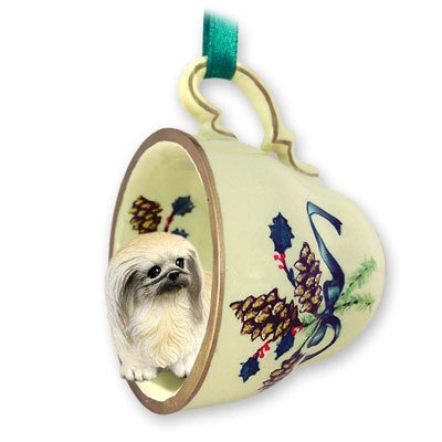 Conversation Concepts Pekingese Tea Cup Green Holiday Ornament