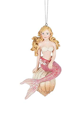 Midwest Blonde Mermaid on a Sea Shell Ornament