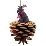 Conversation Concepts Black Schnauzer Pinecone Christmas Ornament