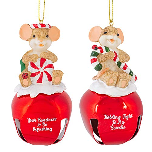 Peppermint Candy Cane Mouse Red 4 x 2 Resin Christmas Ornaments Set of 2