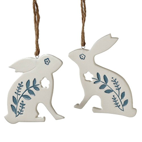 Midwest-CBK Blue and White Porcelain Rabbit Hanging Ornaments 5.50 Inches High – Set of 2