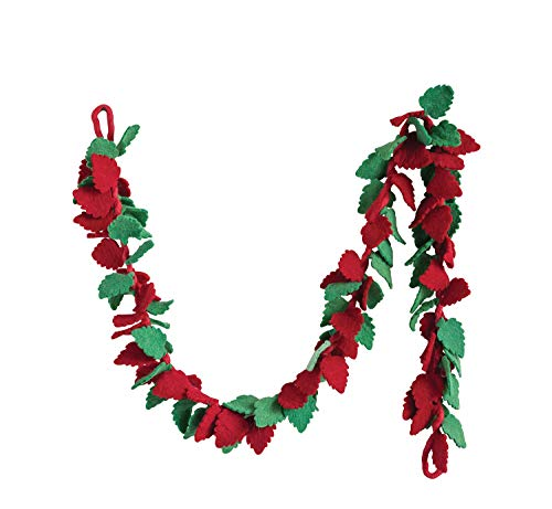 Creative Co-op Red & Green Wool Felt Holly Leaf Garland, Multicolor