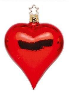 Inge-Glas Heart – Shiny 12002T041a German Glass Christmas Ornament