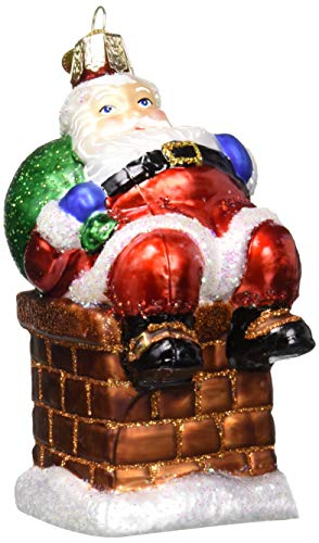 Old World Christmas Assortment Glass Blown Ornaments for Christmas Tree, Chimney Stop Santa