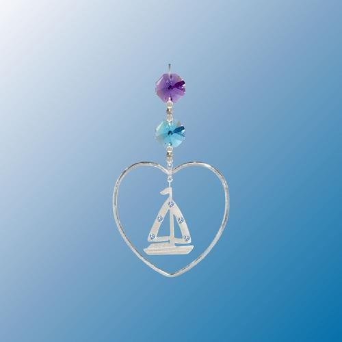 Hanging Sun Catcher or Ornament….. Sail Boat In Heart With Swarovski Austrian Crystals