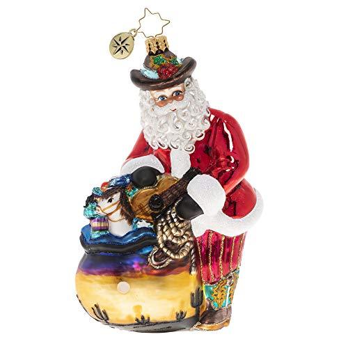 Christopher Radko Hand-Crafted European Glass Christmas Ornament, Wildly Western Santa