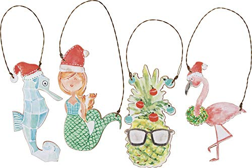 Primitives by Kathy Sea Creatures Hanging Ornament Set of 4