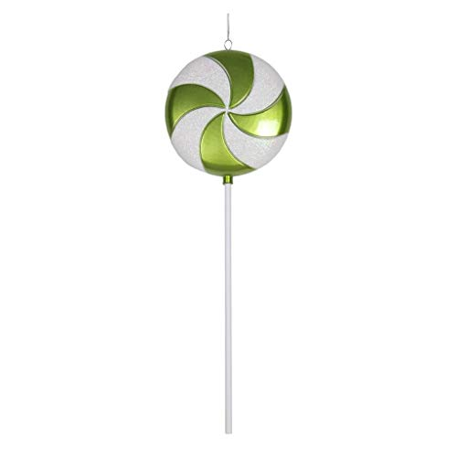 Vickerman Plastic Candy Lollipop with Iridescent Glitter, 24″, Lime Green and White