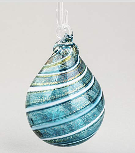 Glass Eye Studio Teal Shimmer Drop Ornament