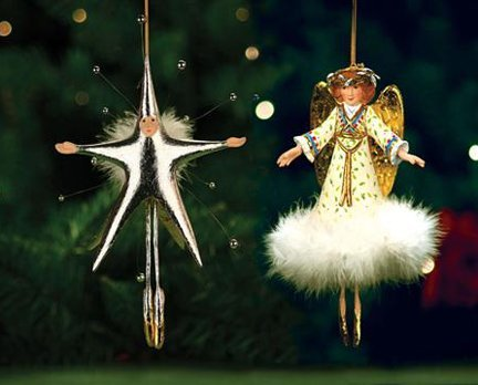 Patience Brewster Krinkles Angel & Star Ornaments – Set of 2