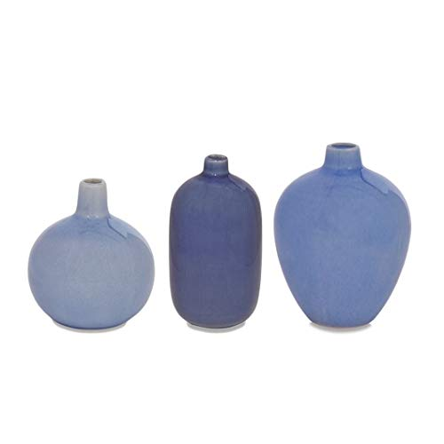 Mud Pie Blue Crackle Glaze Vase (Medium)