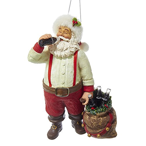 Kurt Adler CC9162 Santa Drinking Coke Ornament, 5.5″