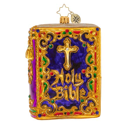 Christopher Radko Hand-Crafted European Glass Christmas Decorative Figural Ornament, The Holy Bible